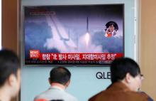 North Korea fired what appeared to be several land-to-ship missiles off its east coast in South Korea.