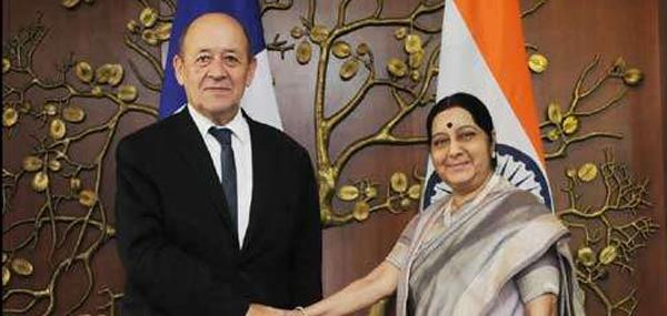 Sushma Swaraj,Terrorism, maritime security, India and France,National Power Corporation India Limited,Jean-Yves Le Drian